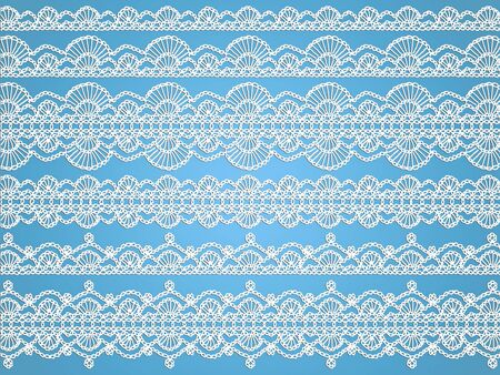 digitals: Soft delicated white crochet laces over light blue background