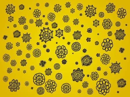 snow chain: Yellow backdrop with black crochet details as spots Stock Photo