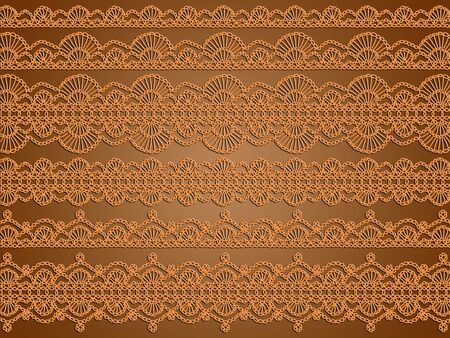 textil: Variety of orange crochet laces over brown background