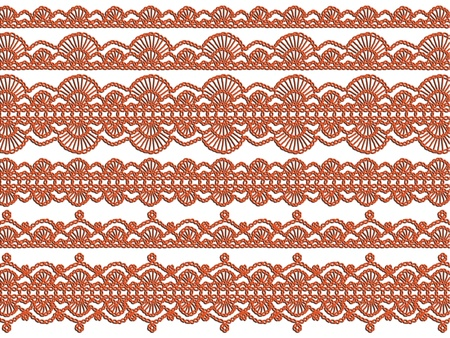 textil: Orange textil pattern of crochet laces isolated over white background