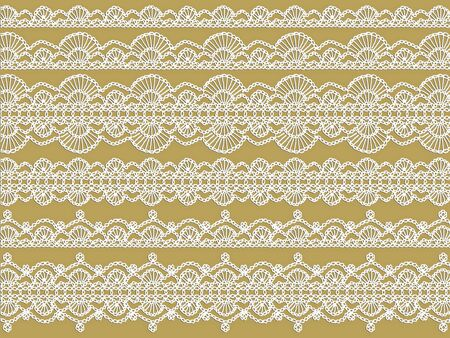 Elegant variety of white crochet laces over beige photo