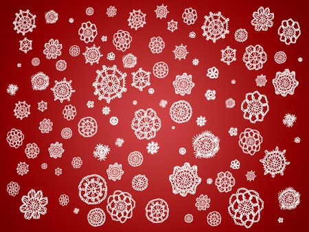 Romantic vintage Christmas wallpaper in red and white with crochet patterns photo