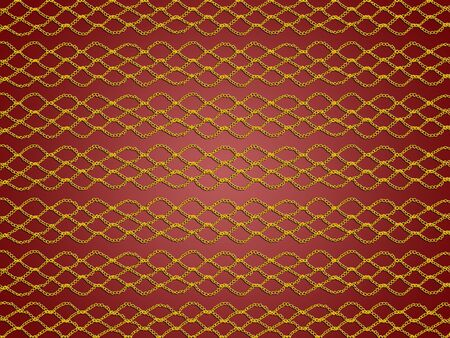 sofisticated: Gold basic simple crochet laces pattern over brownish dark red backdrop