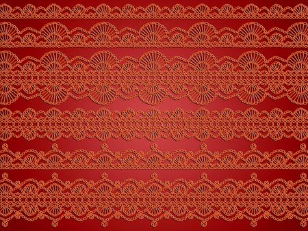 sofisticated: Orange variety of crochet laces over warm red background with elegance