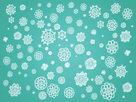 White crochet spots over dark aqua background photo