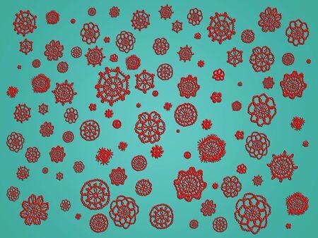 misteries: Red circular patterns over dark aqua backdrop