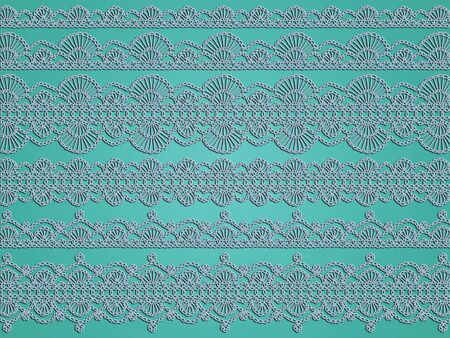 picots: Light turquoise background with elegant crochet laces Stock Photo
