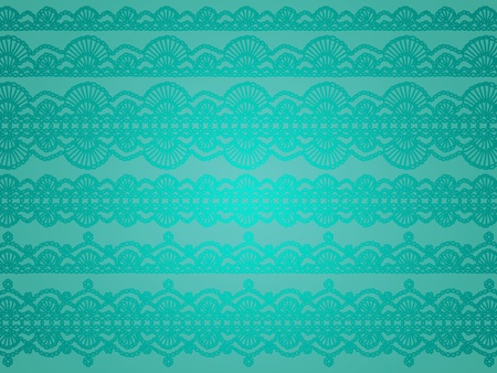 Elegant monochrome turquoise background with delicate crochet patterns photo