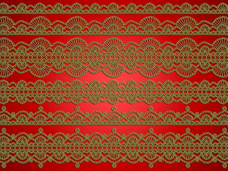 sofisticated: Christmas backdrop in green and red with the elegance of crochet patterns Stock Photo