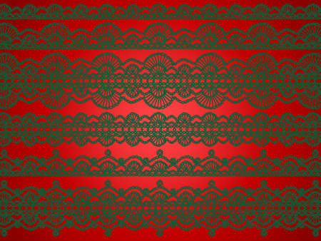 digitals: Elegant beautiful Christmas background with variety of crochet elaborated laces in green isolated over red