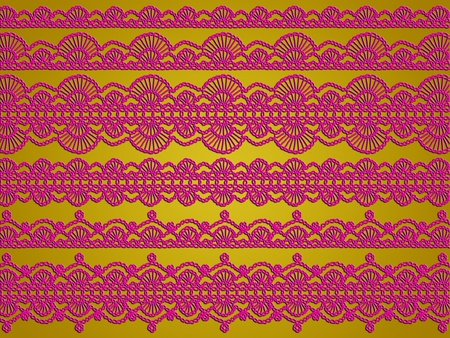 sofisticated: Sober gold backdrop with dark pink crochet laces variety