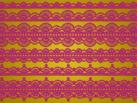 picot: Sullo sfondo d'oro Sober con variet� crochet rosa scuro lacci Archivio Fotografico