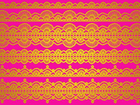 magentas: Brigh chinese colored silk cloth background with elegant patterns in gold yellos isolated over pink Stock Photo