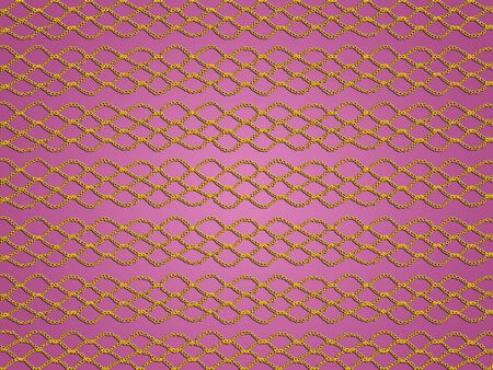 purls: Gold crochet grating over sober pink background