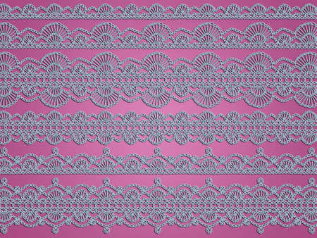 sofisticated: Softness of light blue crochet laces over soft dark pink background Stock Photo