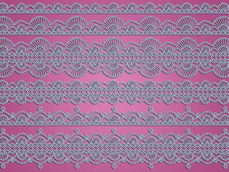 softness: Softness of light blue crochet laces over soft dark pink background Stock Photo