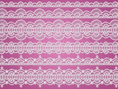 Feminity and elegance in soft dark old pink background with white crochet laces photo