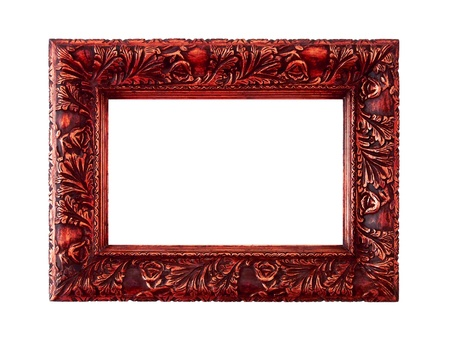 marquees: Elegant vintage redish gold antique carved wood frame Stock Photo