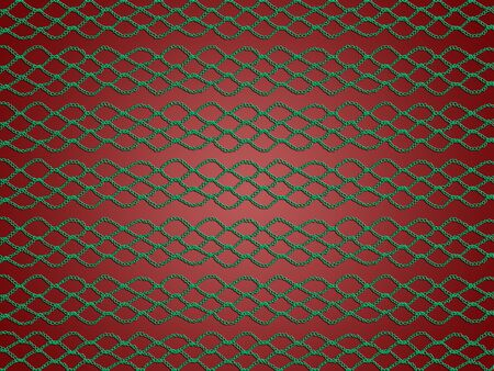 Green crochetted grating pattern over dark red background for Christmas photo