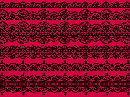 Femenine textil background with crochet patterns in black over intense contrasting pink photo