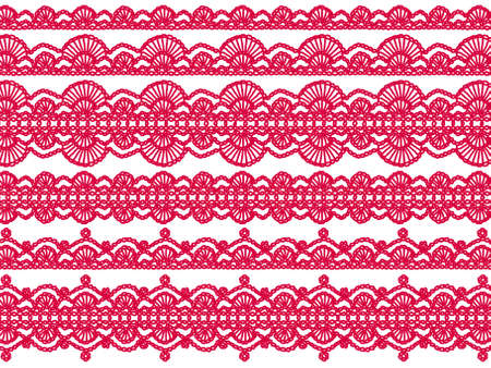 digitals: Red crochet laces isolated over white background Stock Photo