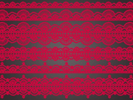 Red crochet variety of patterns over silky black background photo