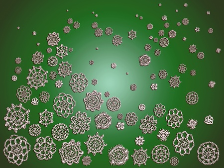 Green Christmas romantic background with crochet
