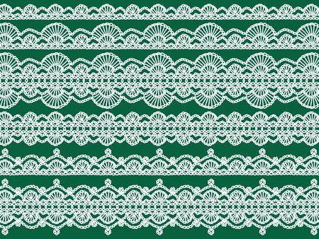 digitals: White elegant crochet laces over green background for xmas Stock Photo