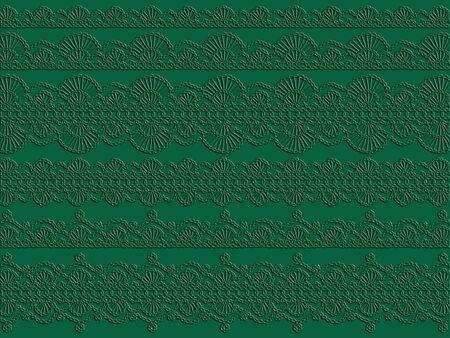 picot: Antico dettaglio panno verde con motivi eleganti come sfondo o sfondo in bianco e nero Archivio Fotografico