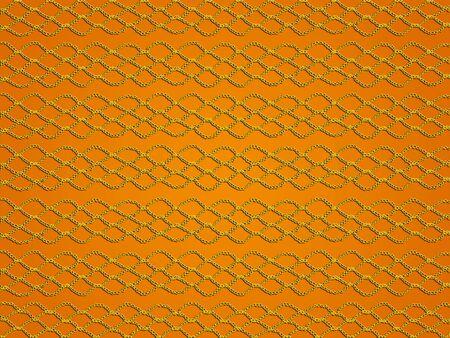 Yellow crochet grating texture over orange background photo