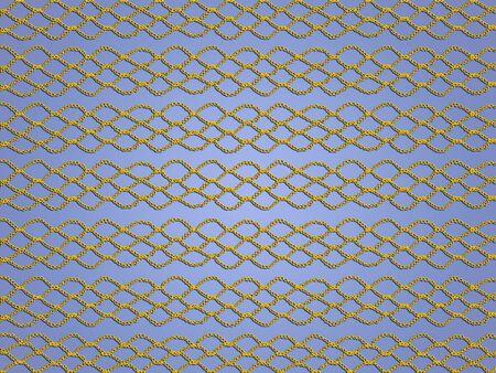 Yellow crochet grating texture over light blue backdrop photo