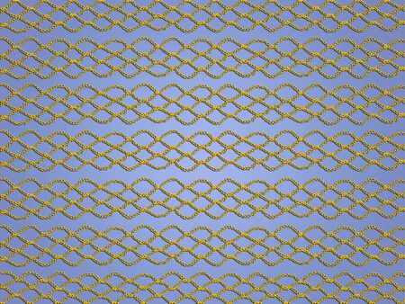 grating: Yellow crochet grating texture over light blue backdrop