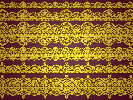 sophistication: Brilliant yellow crochet laces isolated over dark brown background