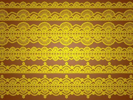 Yellow patterns isolated over brown background photo