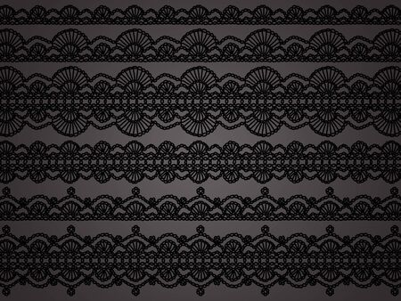 needle laces: Black crochet laces over grey background Stock Photo