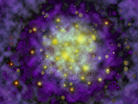 Abstract background of outer space with lights and crochet stars in a nebula photo