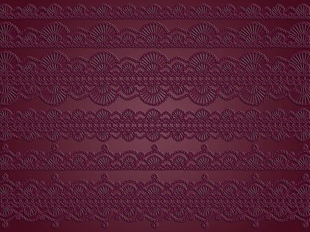 picots: Dark purple backdrop with different crochetted laces patterns
