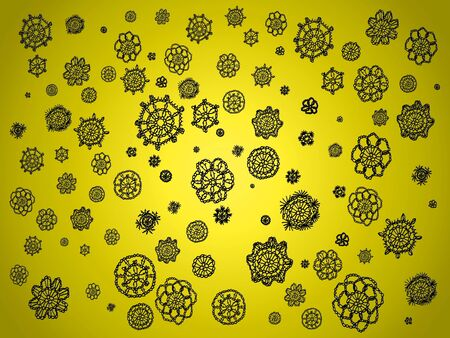 similitude: Black circular crochet spots isolated over brilliant yellow background