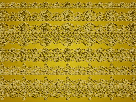 Antique crochet laces patterns in gold background photo