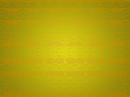 Uniqueness of greenish elegant crochet laces over golden background photo