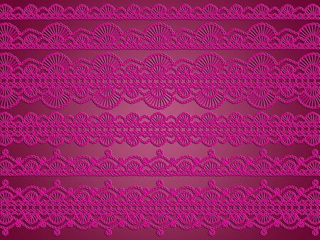 Femenine pink crochet laces patterns over redish purple backdrop Stock Photo - 12622685