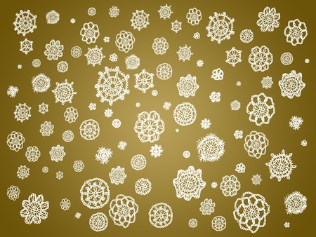 similitudes: White spots of white crochetted fabric over golden brown background Stock Photo