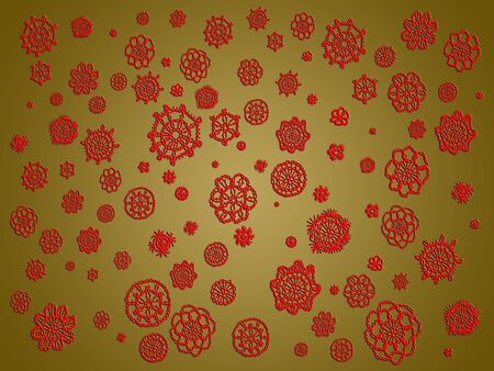 snow chain: Red spots of crochet laces over brown backdrop Stock Photo