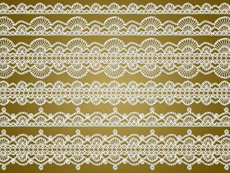 digitals: White typical crochet laces patterns over golden brown background