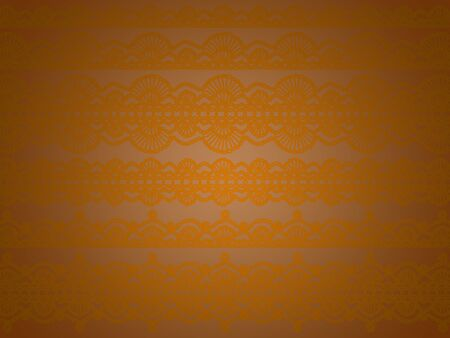 Subtle sober elegant unique background with soft orange old crochet patterns over brown background photo