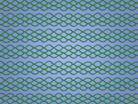 Green crochetted web isolated over light blue background