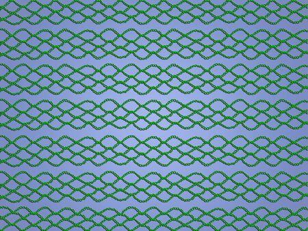 picot: Web crochetted verde isolato su sfondo azzurro