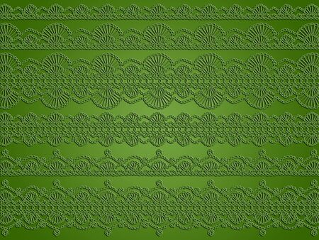 Sophisticated creative Christmas background in light olive green with unique delicacy of crochet laces patterns Stock Photo