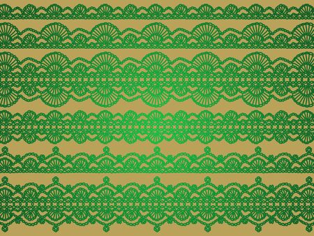 Satin effect of green elegant crochet laces isolated over golden beige background Stock Photo