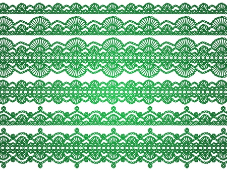 picots: Green crochet Christmas laces isolated over white background